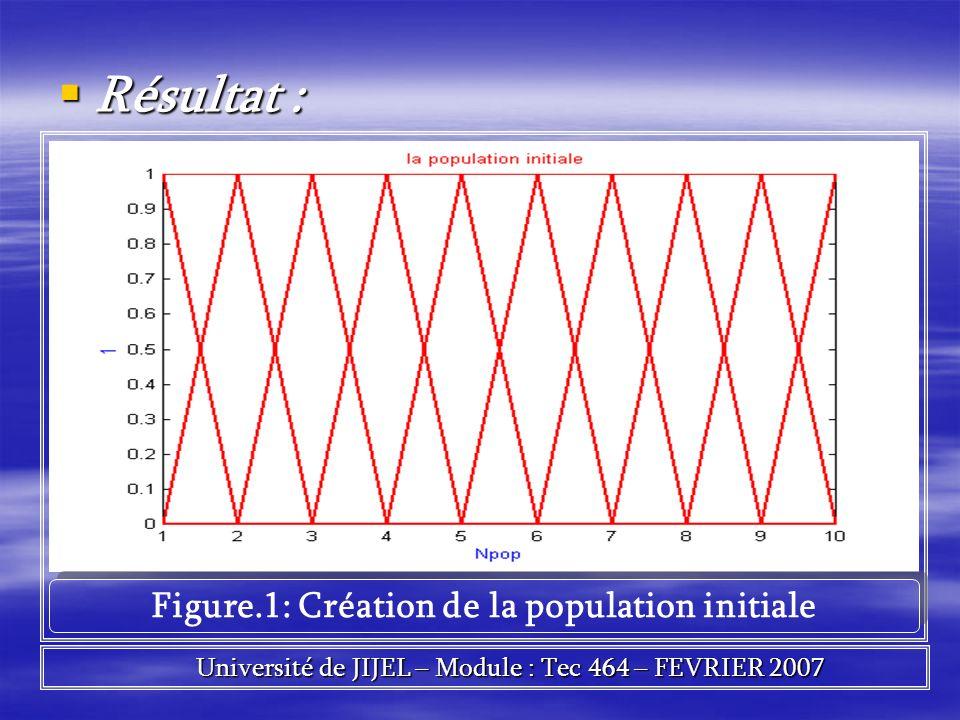 Résultat : Résultat : Figure.1: Création de la population initiale Université de JIJEL – Module : Tec 464 – FEVRIER 2007 Université de JIJEL – Module