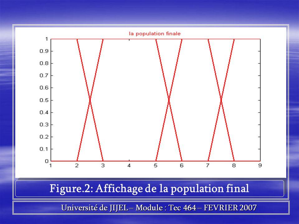 Figure.2: Affichage de la population final Université de JIJEL – Module : Tec 464 – FEVRIER 2007 Université de JIJEL – Module : Tec 464 – FEVRIER 2007