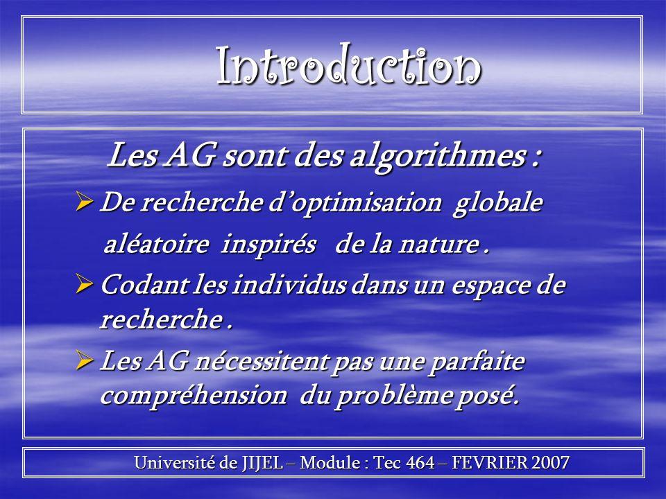Introduction Introduction Les AG sont des algorithmes : Les AG sont des algorithmes : De recherche doptimisation globale De recherche doptimisation gl