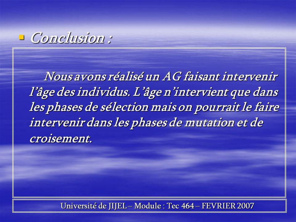 Conclusion : Conclusion : Nous avons réalisé un AG faisant intervenir lâge des individus. Lâge nintervient que dans les phases de sélection mais on po