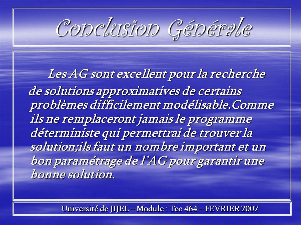Conclusion Générale Les AG sont excellent pour la recherche Les AG sont excellent pour la recherche de solutions approximatives de certains problèmes