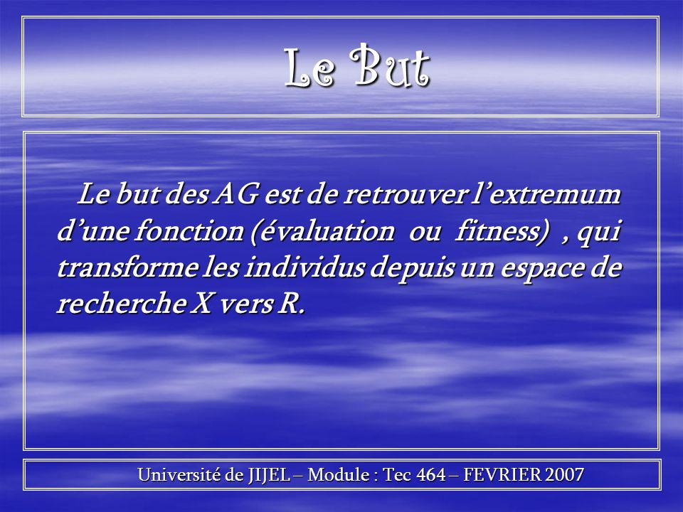 Le but des AG est de retrouver lextremum dune fonction (évaluation ou fitness), qui transforme les individus depuis un espace de recherche X vers R. L