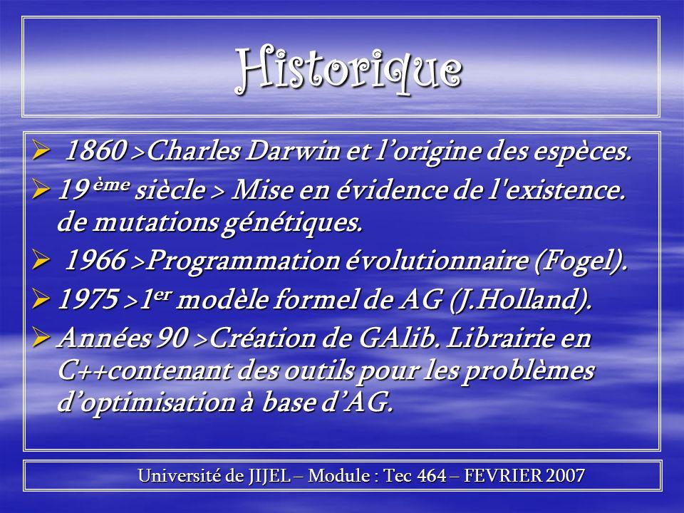 Historique Historique 1860 >Charles Darwin et lorigine des espèces. 1860 >Charles Darwin et lorigine des espèces. 19 ème siècle > Mise en évidence de