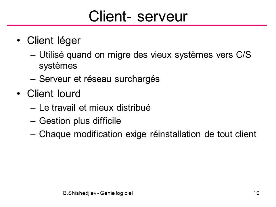 B.Shishedjiev - Génie logiciel10 Client- serveur Client léger –Utilisé quand on migre des vieux systèmes vers C/S systèmes –Serveur et réseau surchargés Client lourd –Le travail et mieux distribué –Gestion plus difficile –Chaque modification exige réinstallation de tout client