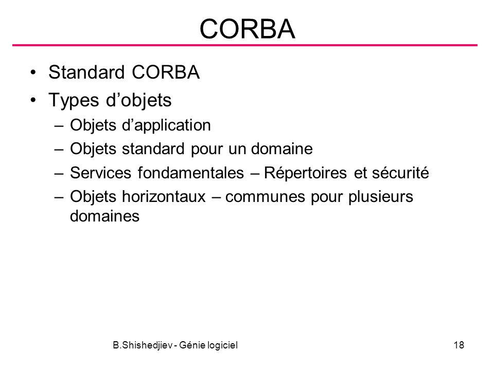 B.Shishedjiev - Génie logiciel18 CORBA Standard CORBA Types dobjets –Objets dapplication –Objets standard pour un domaine –Services fondamentales – Répertoires et sécurité –Objets horizontaux – communes pour plusieurs domaines