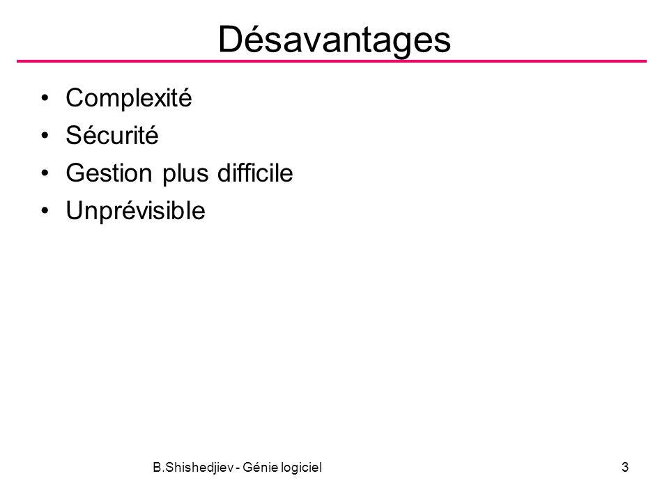 B.Shishedjiev - Génie logiciel3 Désavantages Complexité Sécurité Gestion plus difficile Unprévisible