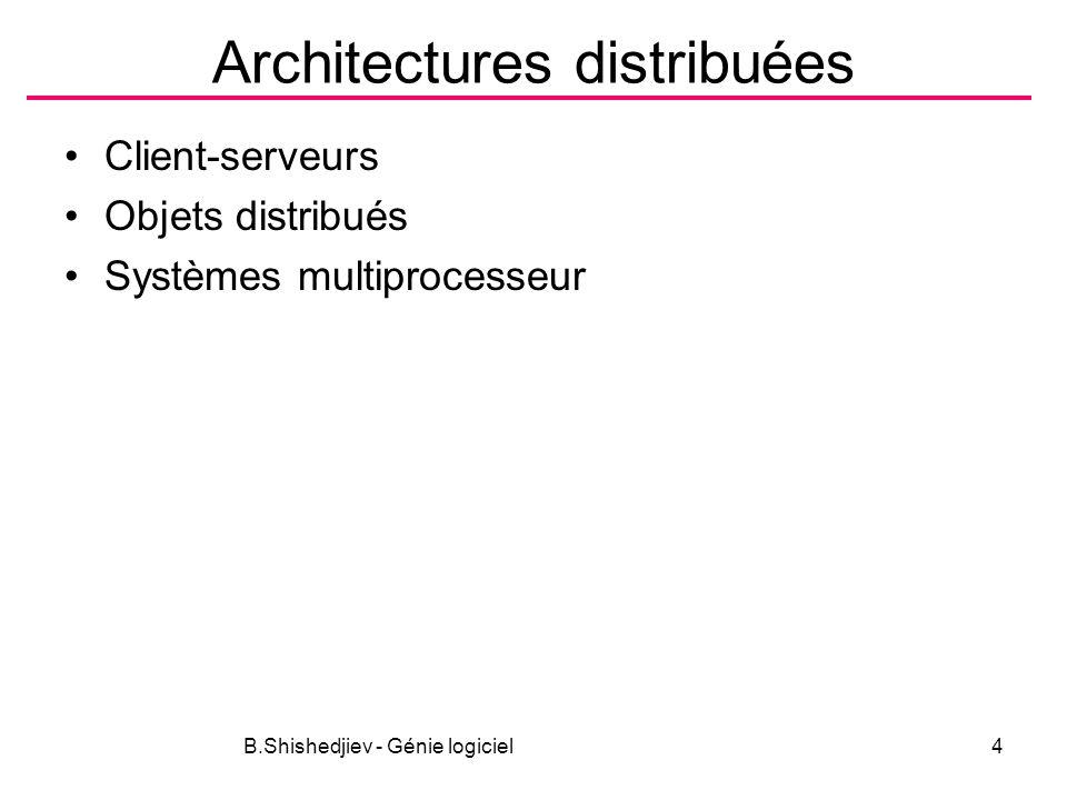 B.Shishedjiev - Génie logiciel4 Architectures distribuées Client-serveurs Objets distribués Systèmes multiprocesseur