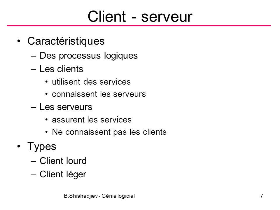 B.Shishedjiev - Génie logiciel7 Client - serveur Caractéristiques –Des processus logiques –Les clients utilisent des services connaissent les serveurs –Les serveurs assurent les services Ne connaissent pas les clients Types –Client lourd –Client léger