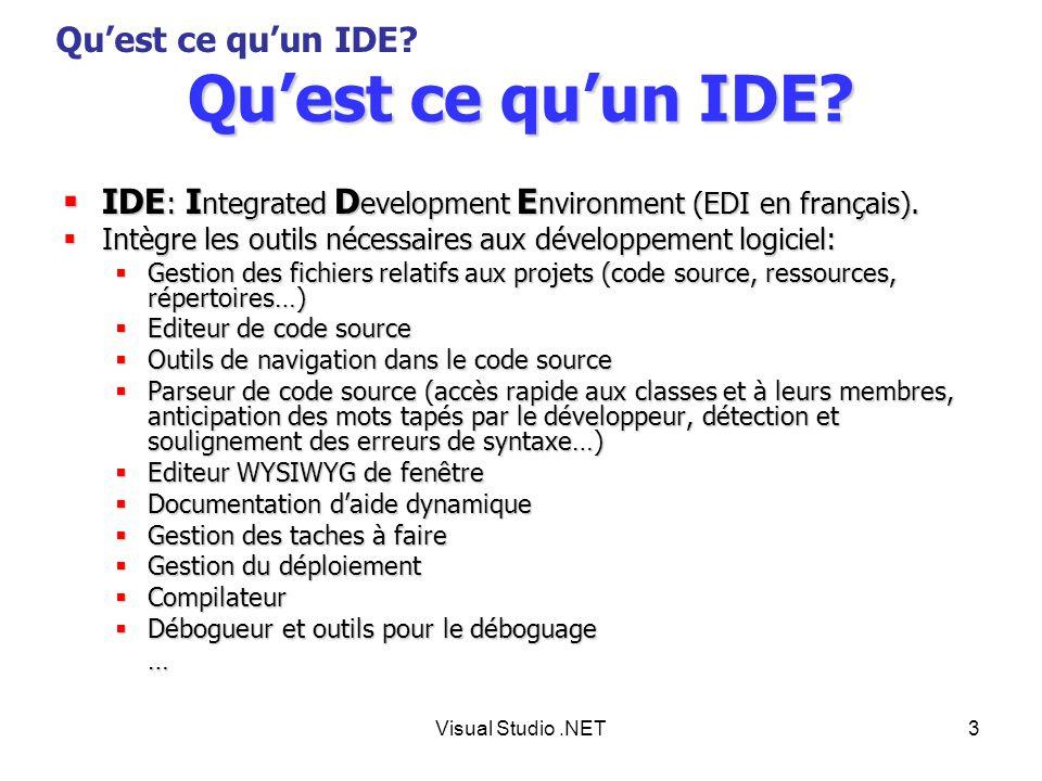 Visual Studio.NET14 Plan Quest ce quun IDE.Quest ce quun IDE.