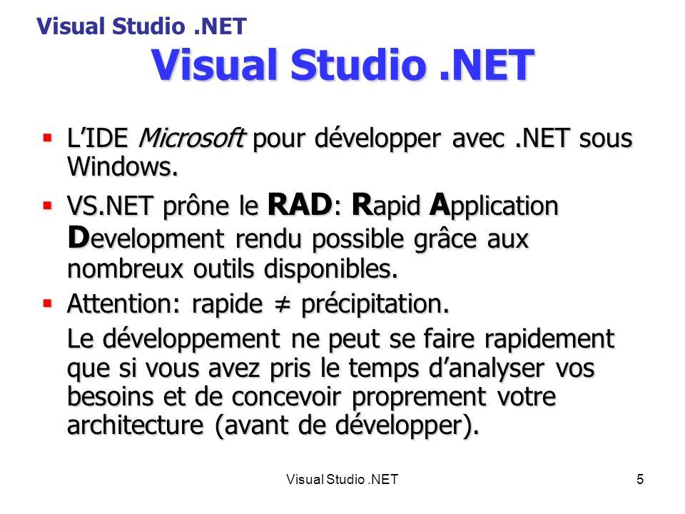 6 Unification VS.NET gère élégamment le produit cartésien entre les langages de programmation et les types dapplications.