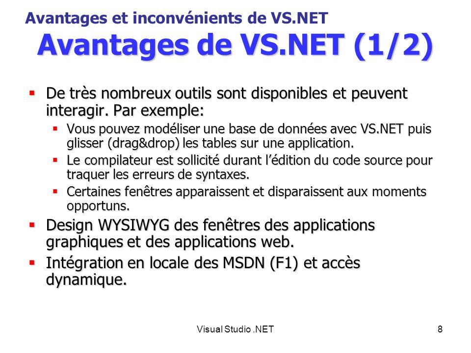 Visual Studio.NET9 Avantages de VS.NET (2/2) Intellisense (auto-complétion en français).