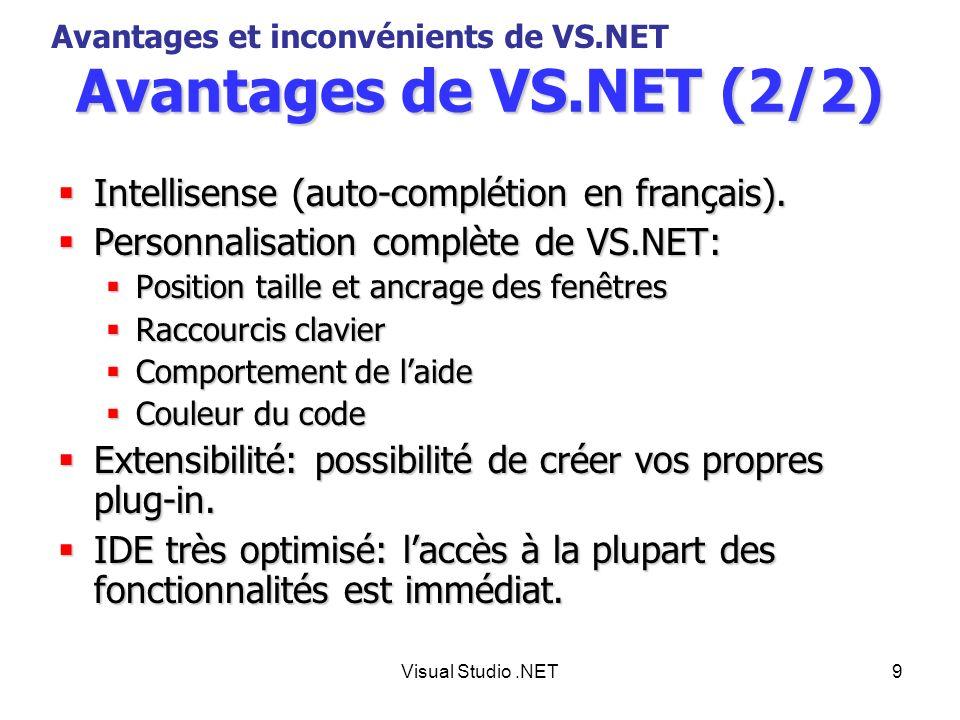 Visual Studio.NET10 Inconvénients de VS.NET Son prix: La version la plus complète est de lordre de 3000.