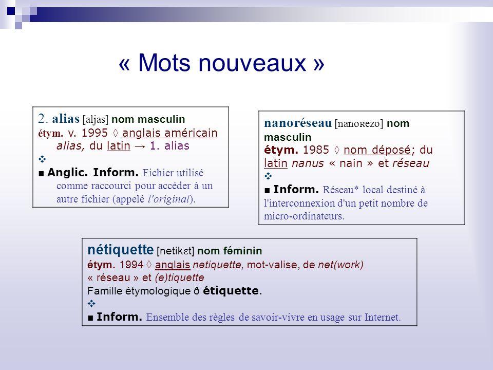 « Mots nouveaux » 2.alias [aljas] nom masculin étym.