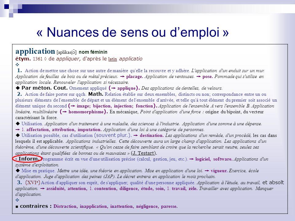 « Nuances de sens ou demploi » application [aplikasj ɔ ̃] nom féminin étym.
