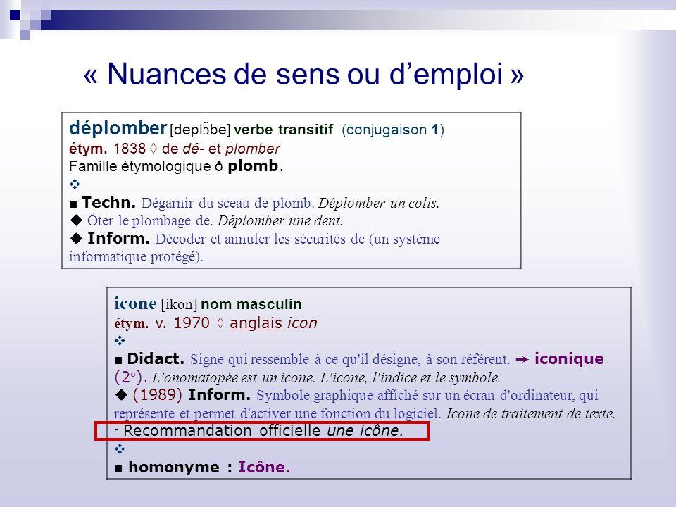 « Nuances de sens ou demploi » déplomber [depl ɔ ̃be] verbe transitif (conjugaison 1) étym.