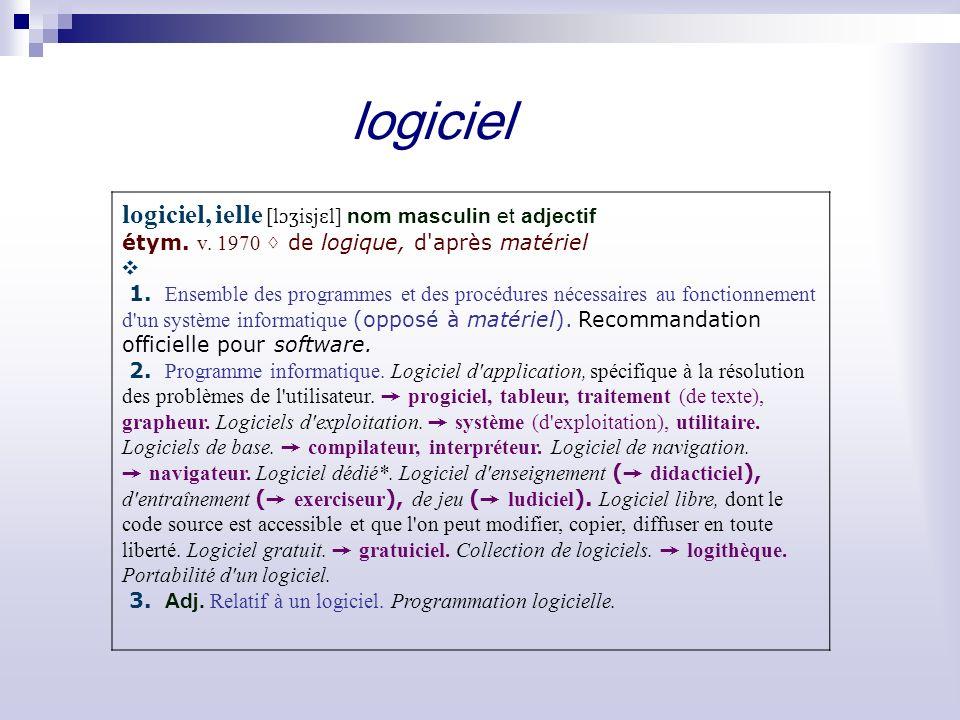 logiciel logiciel, ielle [l ɔʒ isj ɛ l] nom masculin et adjectif étym.