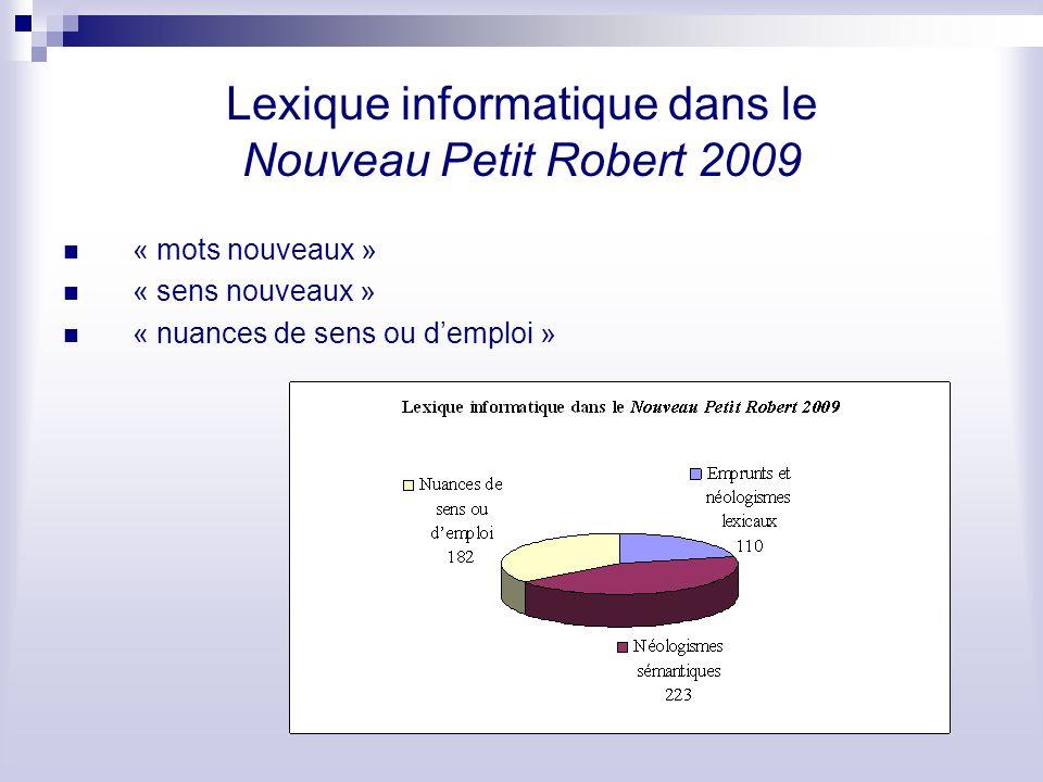 Lexique informatique dans le Nouveau Petit Robert 2009 « mots nouveaux » « sens nouveaux » « nuances de sens ou demploi »