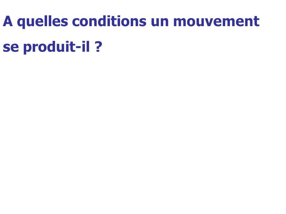 A quelles conditions un mouvement se produit-il ?