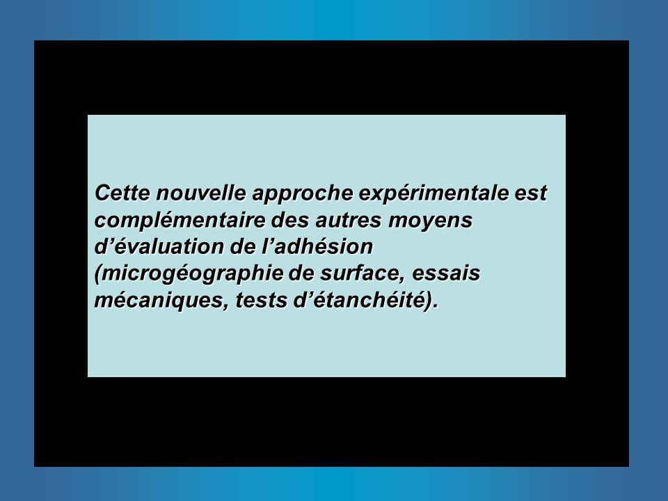 Cette nouvelle approche expérimentale est complémentaire des autres moyens dévaluation de ladhésion (microgéographie de surface, essais mécaniques, tests détanchéité).