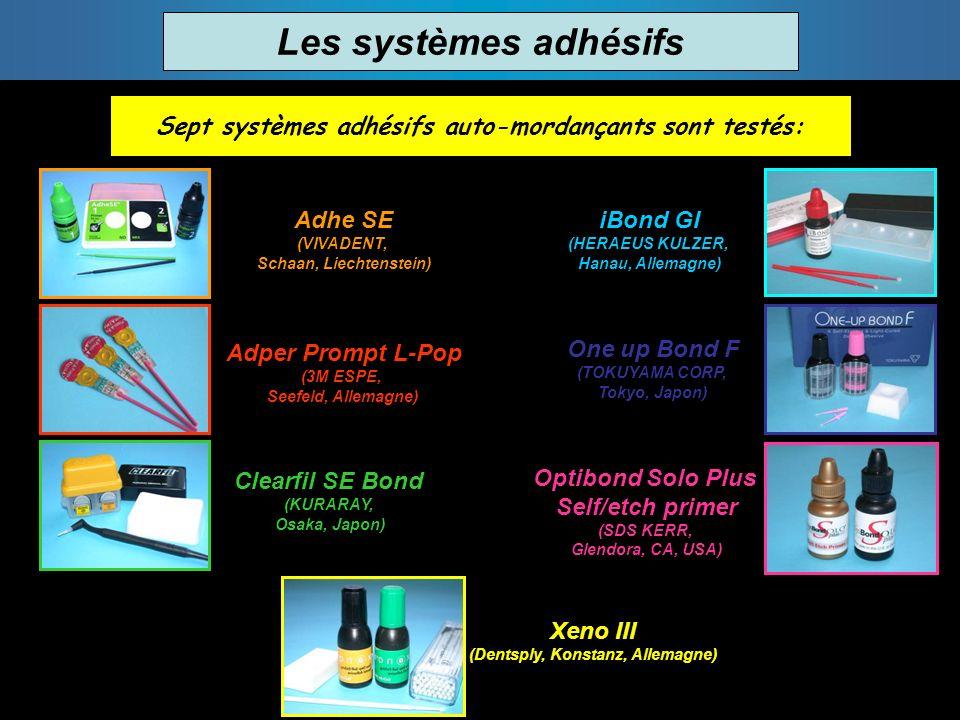 Les systèmes adhésifs Sept systèmes adhésifs auto-mordançants sont testés: Adhe SE (VIVADENT, Schaan, Liechtenstein) Adper Prompt L-Pop (3M ESPE, Seef