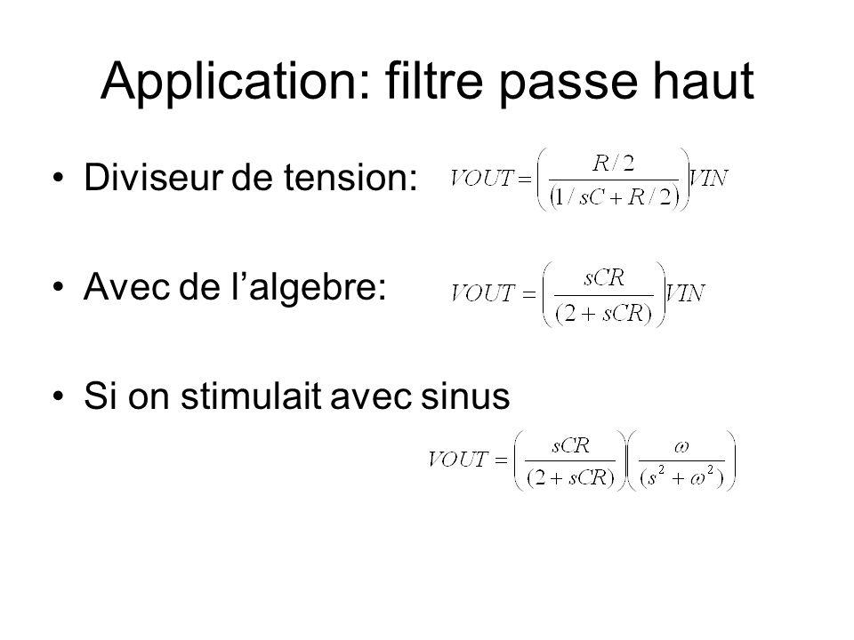 Application: filtre passe haut Diviseur de tension: Avec de lalgebre: Si on stimulait avec sinus