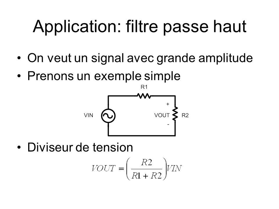 Application: filtre passe haut On veut un signal avec grande amplitude Prenons un exemple simple Diviseur de tension