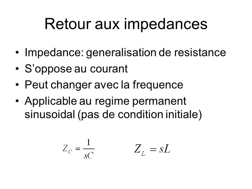 Retour aux impedances Impedance: generalisation de resistance Soppose au courant Peut changer avec la frequence Applicable au regime permanent sinusoi