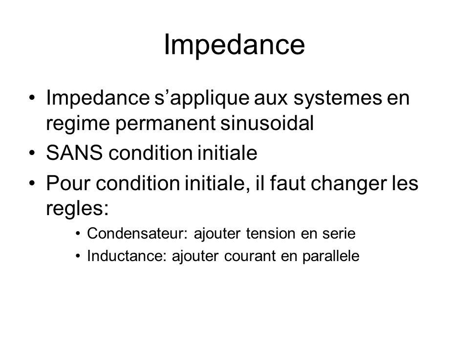 Impedance Impedance sapplique aux systemes en regime permanent sinusoidal SANS condition initiale Pour condition initiale, il faut changer les regles: