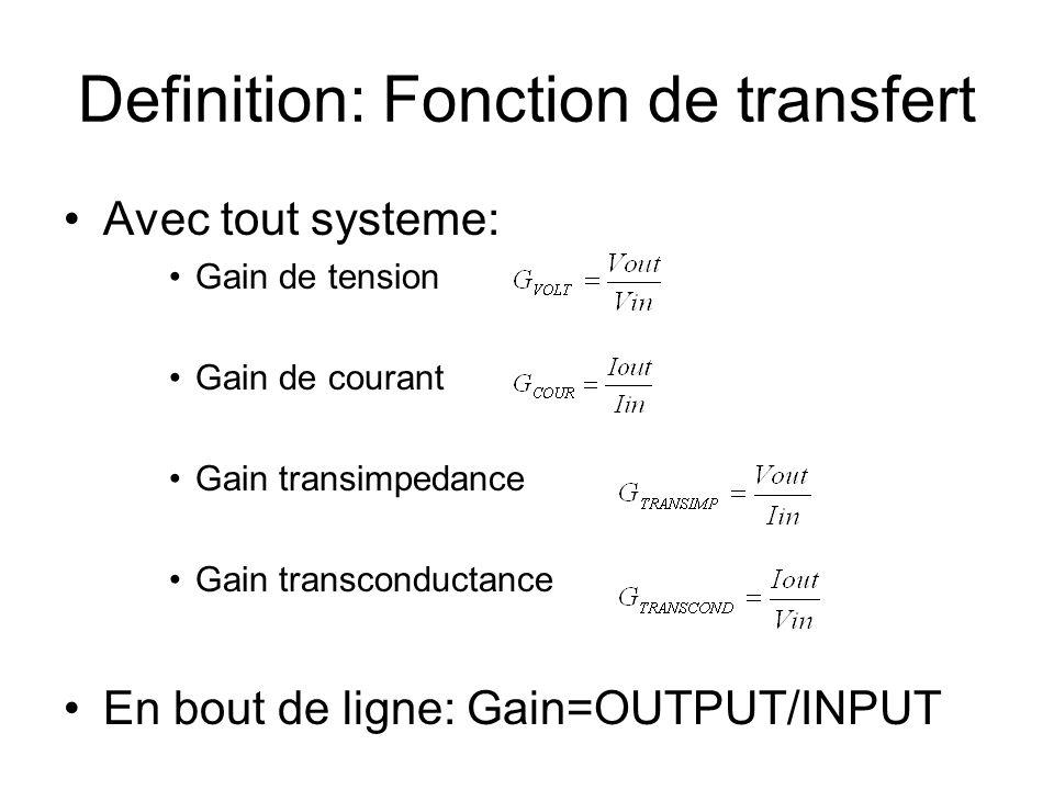 Definition: Fonction de transfert Avec tout systeme: Gain de tension Gain de courant Gain transimpedance Gain transconductance En bout de ligne: Gain=