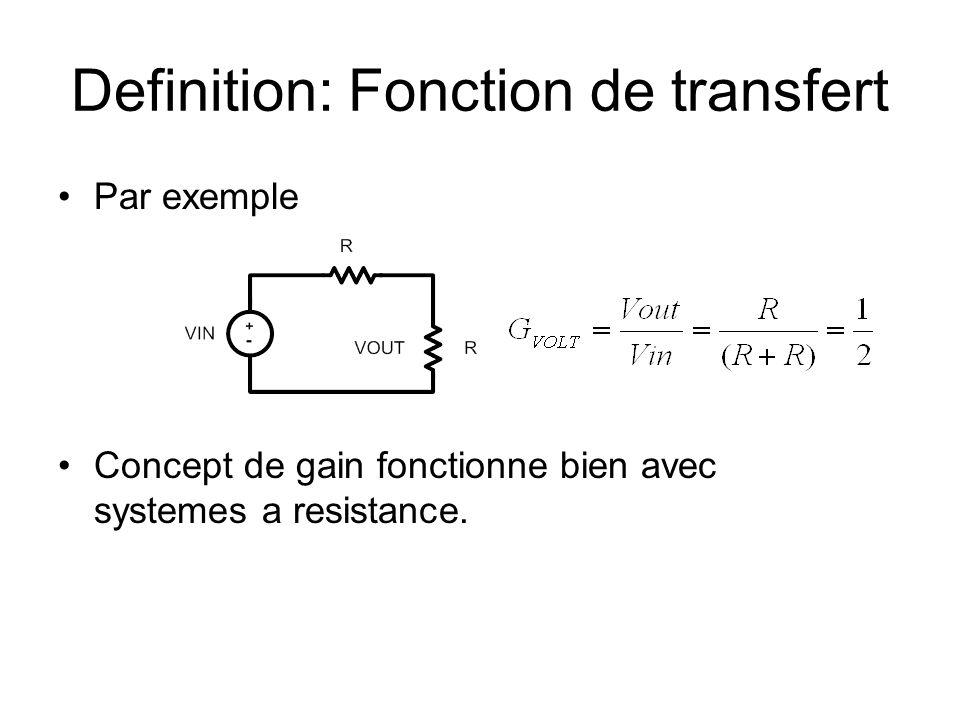 Definition: Fonction de transfert Par exemple Concept de gain fonctionne bien avec systemes a resistance.
