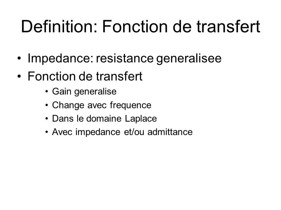 Definition: Fonction de transfert Impedance: resistance generalisee Fonction de transfert Gain generalise Change avec frequence Dans le domaine Laplac