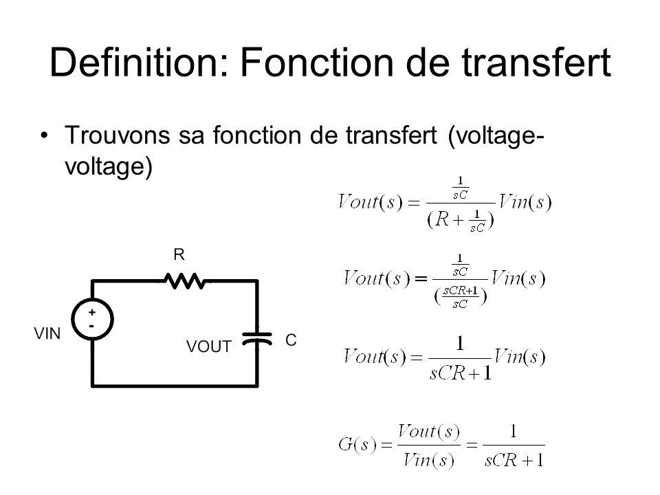 Definition: Fonction de transfert Trouvons sa fonction de transfert (voltage- voltage)