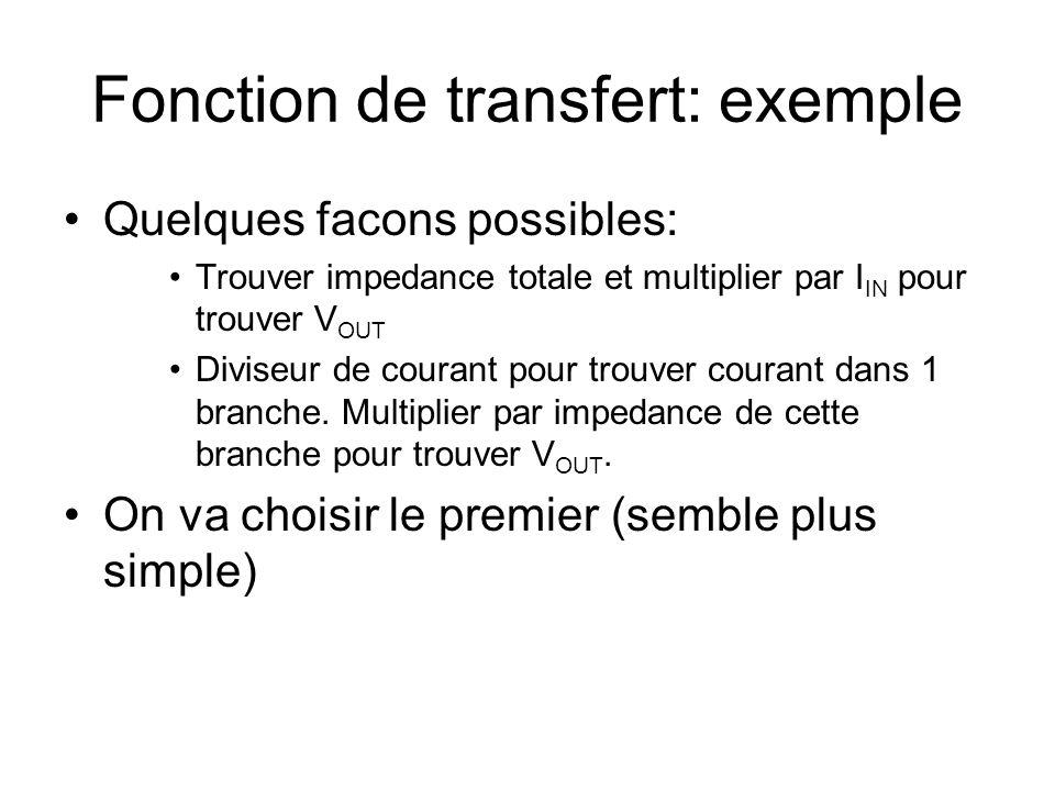Fonction de transfert: exemple Quelques facons possibles: Trouver impedance totale et multiplier par I IN pour trouver V OUT Diviseur de courant pour