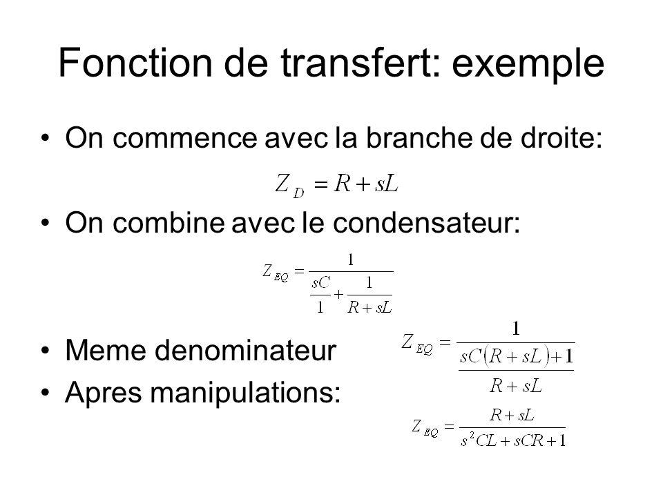 Fonction de transfert: exemple On commence avec la branche de droite: On combine avec le condensateur: Meme denominateur Apres manipulations:
