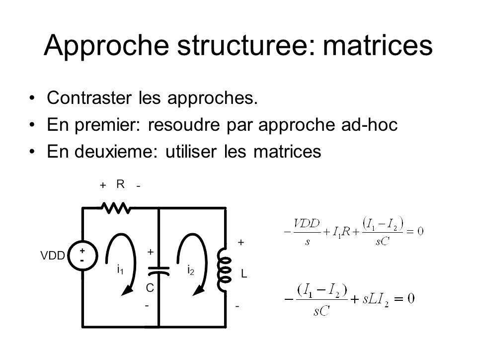 Approche structuree: matrices Contraster les approches. En premier: resoudre par approche ad-hoc En deuxieme: utiliser les matrices
