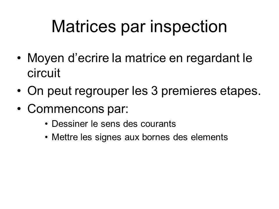Matrices par inspection Moyen decrire la matrice en regardant le circuit On peut regrouper les 3 premieres etapes. Commencons par: Dessiner le sens de