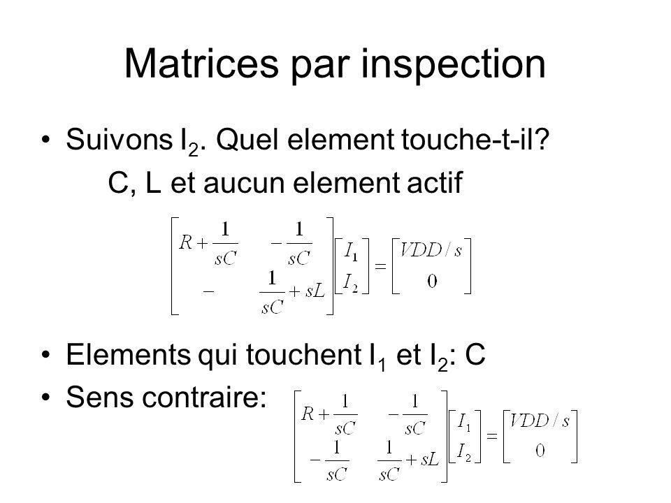 Matrices par inspection Suivons I 2. Quel element touche-t-il? C, L et aucun element actif Elements qui touchent I 1 et I 2 : C Sens contraire: