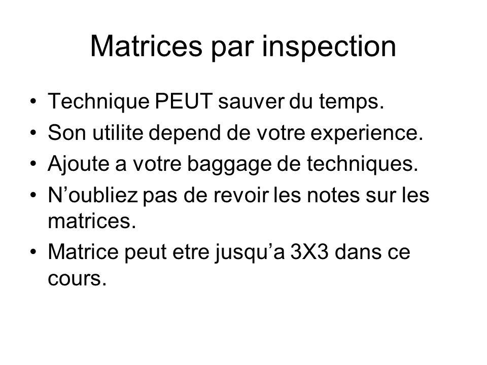 Matrices par inspection Technique PEUT sauver du temps. Son utilite depend de votre experience. Ajoute a votre baggage de techniques. Noubliez pas de