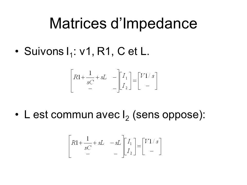 Matrices dImpedance Suivons I 1 : v1, R1, C et L. L est commun avec I 2 (sens oppose):