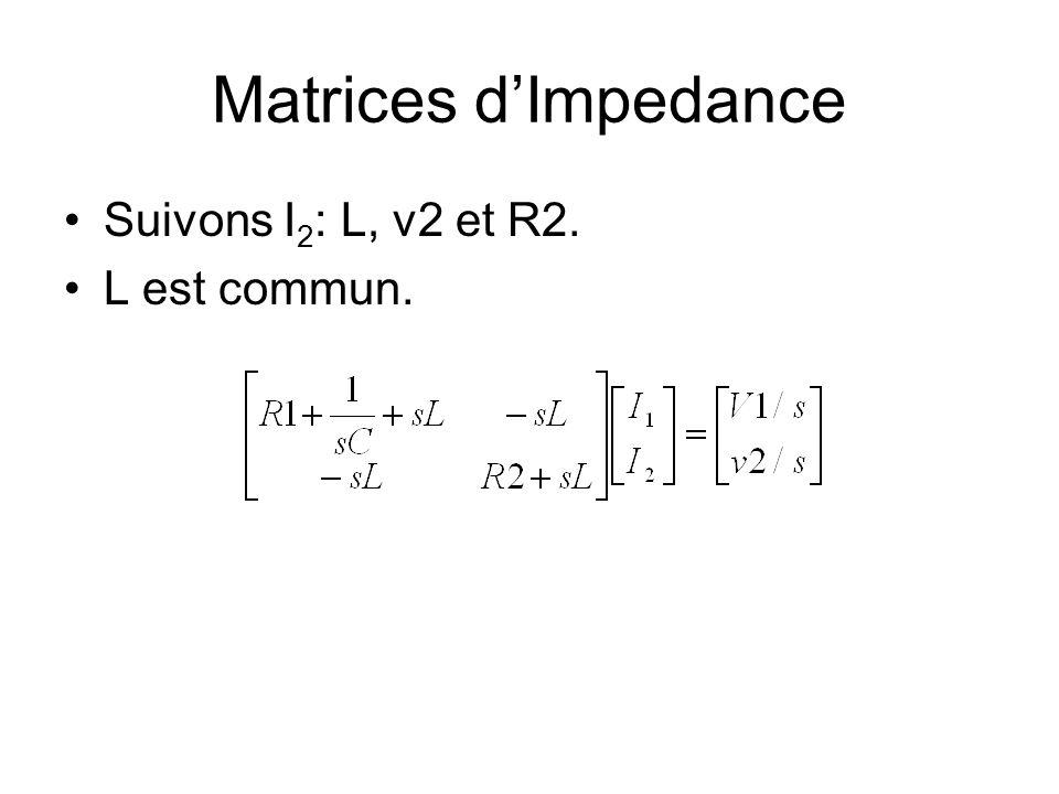 Matrices dImpedance Suivons I 2 : L, v2 et R2. L est commun.