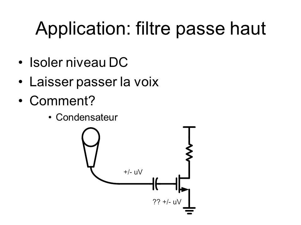 Application: filtre passe haut Isoler niveau DC Laisser passer la voix Comment? Condensateur