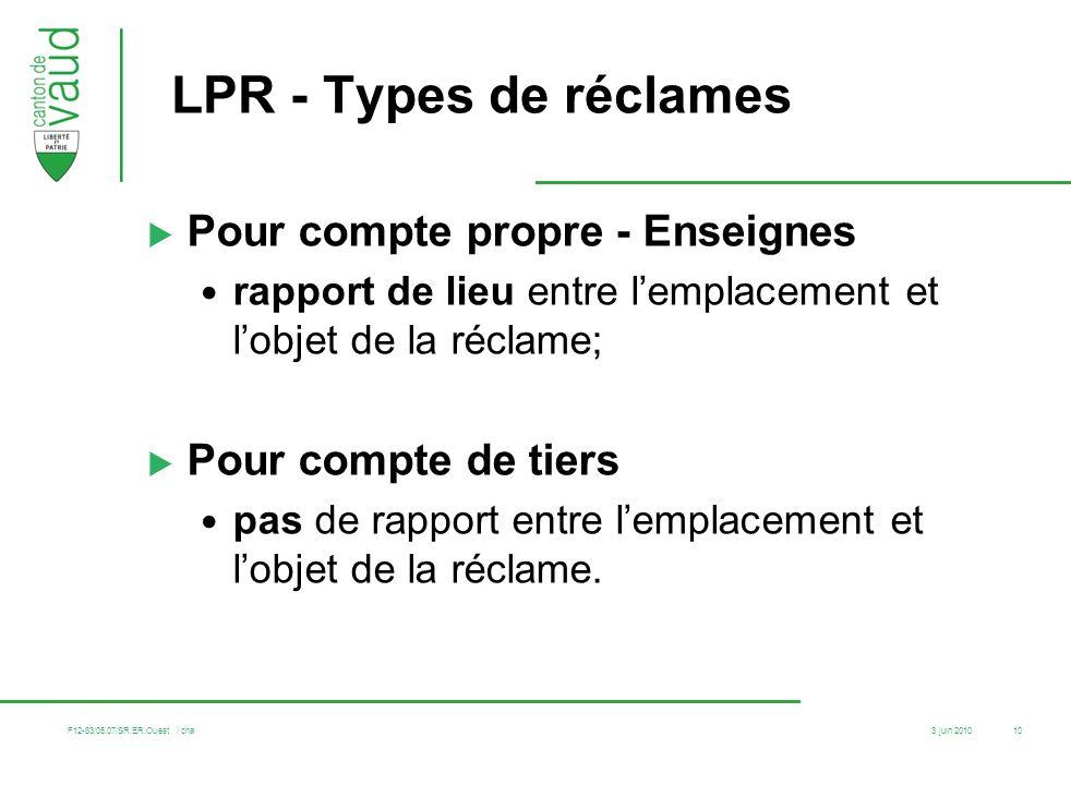 3 juin 2010 F12-83/05.07/SR.ER.Ouest / cha 10 LPR - Types de réclames Pour compte propre - Enseignes rapport de lieu entre lemplacement et lobjet de l