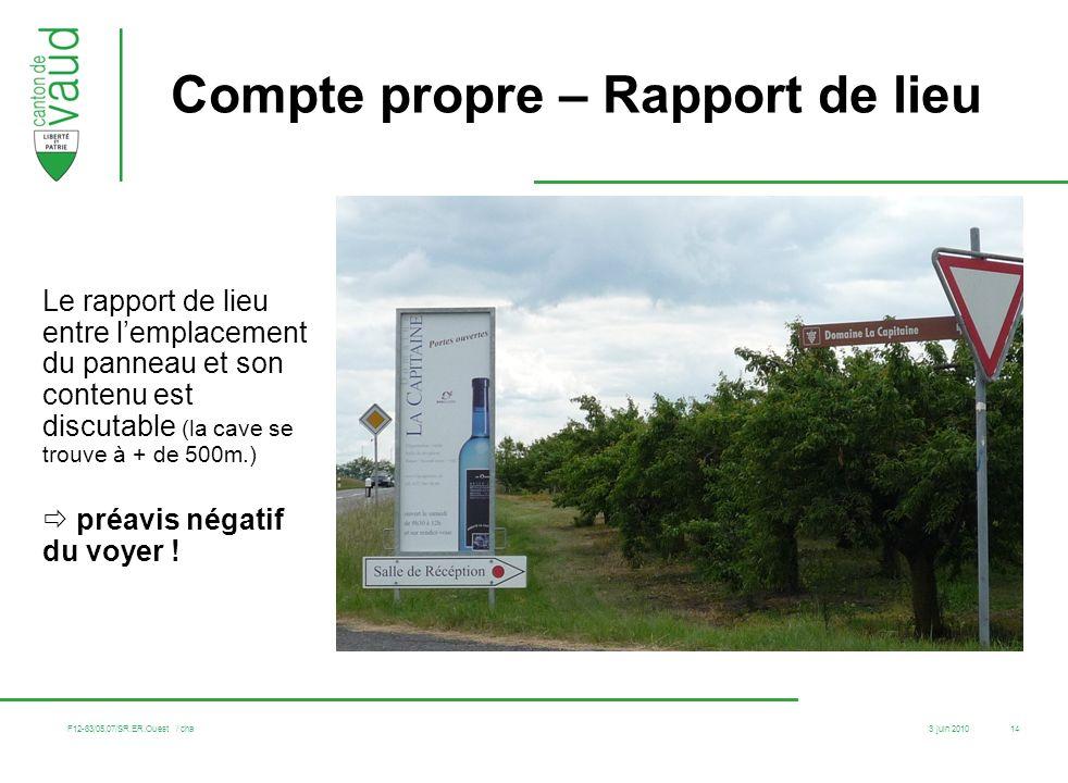 3 juin 2010 F12-83/05.07/SR.ER.Ouest / cha 14 Compte propre – Rapport de lieu Le rapport de lieu entre lemplacement du panneau et son contenu est disc