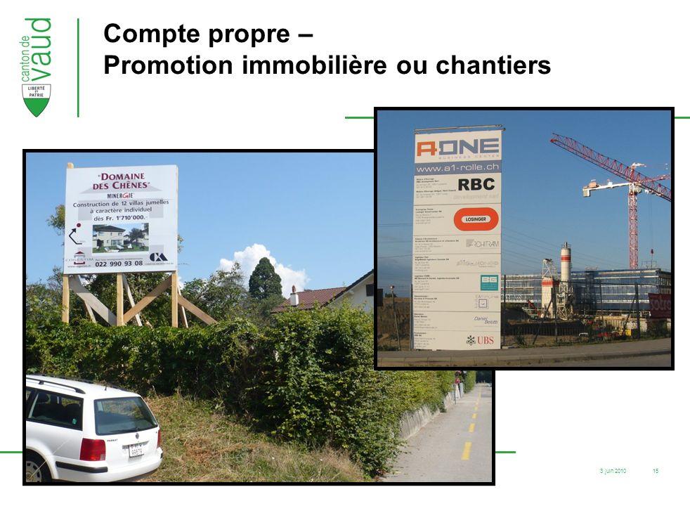 3 juin 2010 F12-83/05.07/SR.ER.Ouest / cha 15 Compte propre – Promotion immobilière ou chantiers