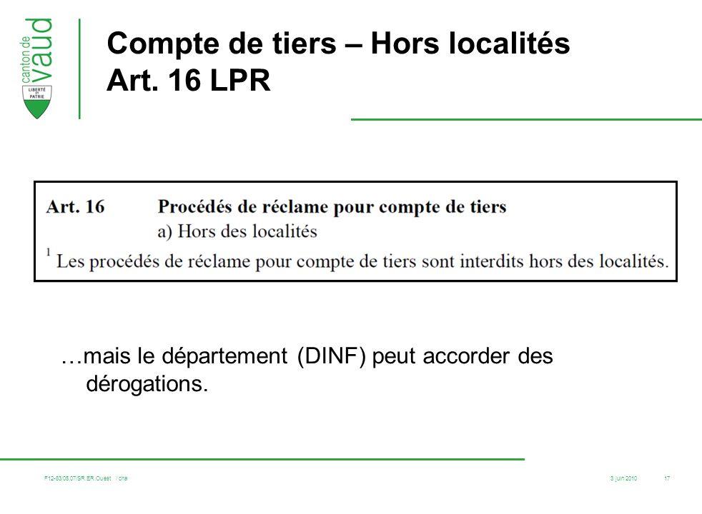3 juin 2010 F12-83/05.07/SR.ER.Ouest / cha 17 Compte de tiers – Hors localités Art. 16 LPR …mais le département (DINF) peut accorder des dérogations.