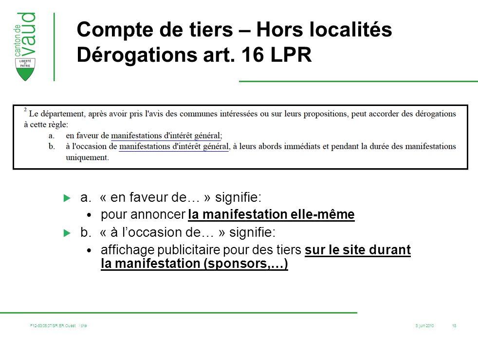 3 juin 2010 F12-83/05.07/SR.ER.Ouest / cha 18 Compte de tiers – Hors localités Dérogations art. 16 LPR a. « en faveur de… » signifie: pour annoncer la