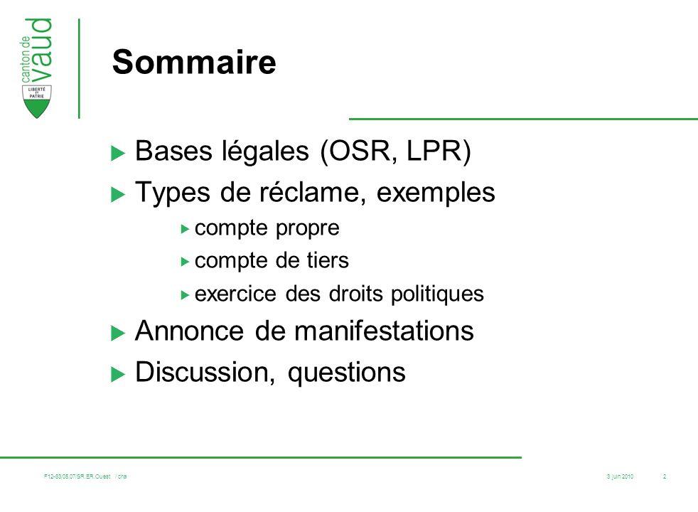 3 juin 2010 F12-83/05.07/SR.ER.Ouest / cha 2 Sommaire Bases légales (OSR, LPR) Types de réclame, exemples compte propre compte de tiers exercice des d