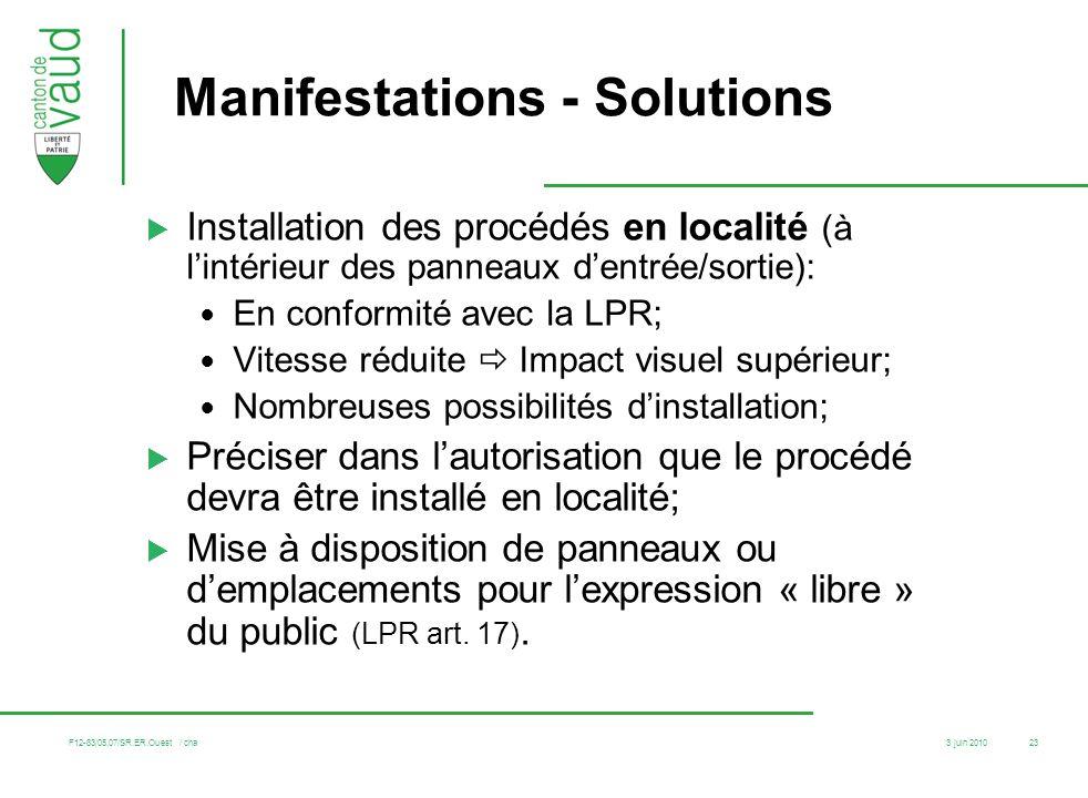 3 juin 2010 F12-83/05.07/SR.ER.Ouest / cha 23 Manifestations - Solutions Installation des procédés en localité (à lintérieur des panneaux dentrée/sort