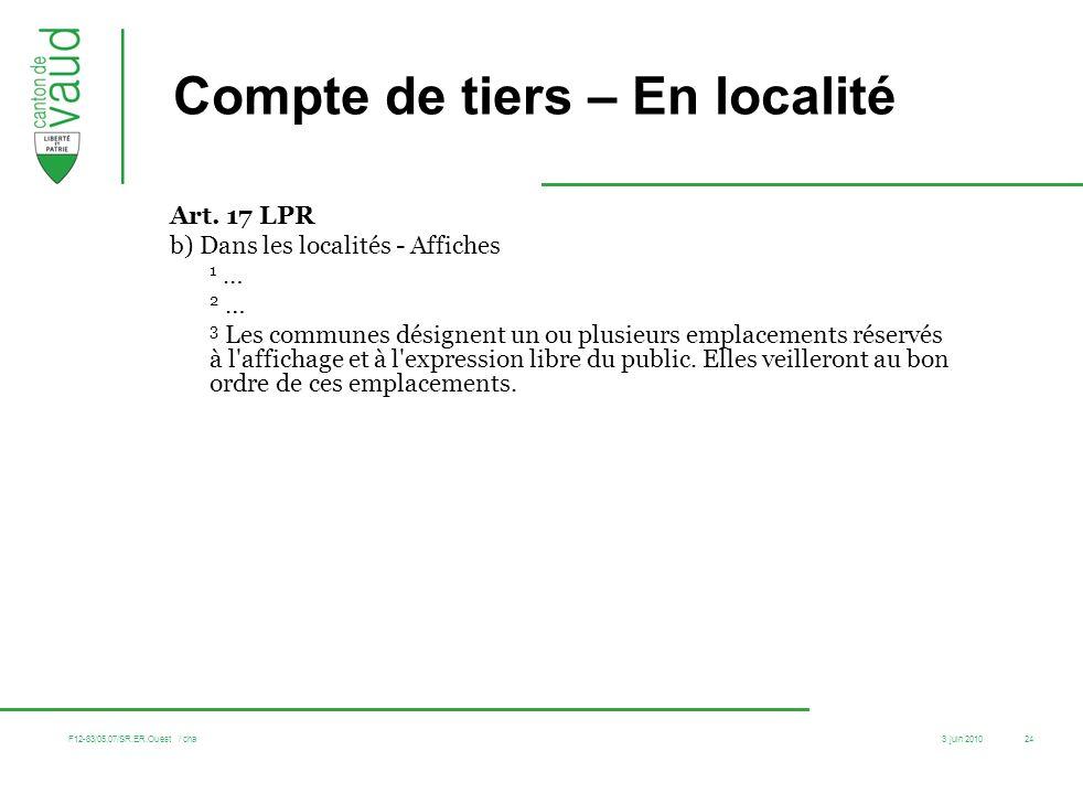 3 juin 2010 F12-83/05.07/SR.ER.Ouest / cha 24 Compte de tiers – En localité Art. 17 LPR b) Dans les localités - Affiches 1 … 2 … 3 Les communes désign
