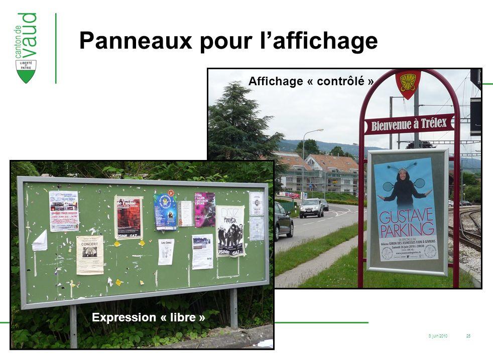 3 juin 2010 F12-83/05.07/SR.ER.Ouest / cha 25 Panneaux pour laffichage Expression « libre » Affichage « contrôlé »